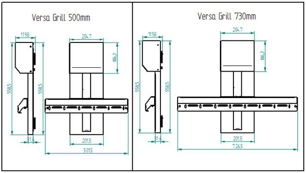 VERSA GRILL ALAVANCA | 500 mm - 110-220V