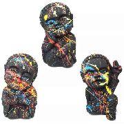 Trio de Monges Buda Bebê Urban Art com Cores Vibrantes