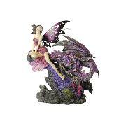 Fada Roxa com Dragão em Resina (26cm)