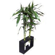6 Hastes de Bambu da Sorte com Suporte em Madeira e Vaso em Vidro