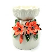 Aromatizador em Cerâmica com Flores Salmão (9cm)