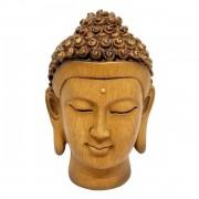 Cabeça de Buda Boas Vibrações com Efeito Madeira (16cm)