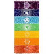 Canga Manta Colorida 7 Chakras para Yoga e Decoração