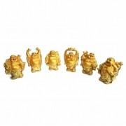 Conjunto com 6 Mini Budas Dourados (7cm)