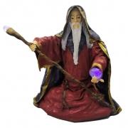 Estátua Mago Merlin Sentado com Incensário e Luz (37cm)