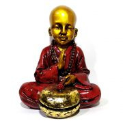 Estátua Monge com Tambor (22cm)
