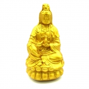Estatueta Deusa Kuan Yin Dourada (15cm)