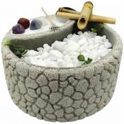 Fonte de Água Redonda em Concreto Celular com Jardim Zen (19cm)