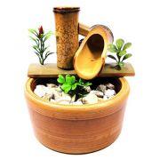 Fonte em Bambu com Vaso de Cerâmica 2 Quedas (16x13cm)