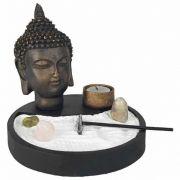 Jardim Zen com Cabeça de Buda, Incensário e Porta Velas
