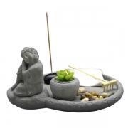Jardim Zen em Cimento com Buda da Harmonia, Porta Velas e Incensário