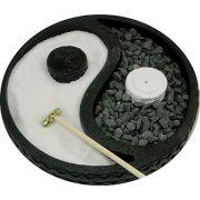 Jardim Zen Yin Yang com Porta Incensos e Pedras (15cm)