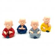 Kit com 4 Monges Coloridos em Resina (6cm)
