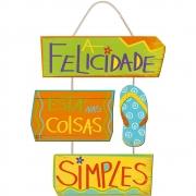 Placa Decorativa A Felicidade (27x8cm)