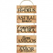 Placa Decorativa Fé em Deus, Bons Amigos (25x74cm)
