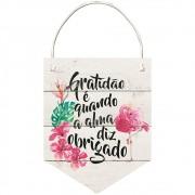 Placa Decorativa Flâmula Obrigado (24x19cm)
