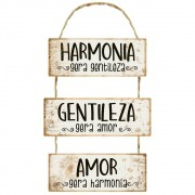 Placa Decorativa Harmonia Gera Gentileza (29,5x52cm)