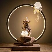 Porta Incensos Cascata Mãos de Buda com Luminária em LED (32cm)
