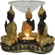 Porta Velas e Difusor Rechaud Três Budas com Prato de Vidro