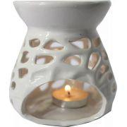 Porta Velas Rechaud em Cerâmica (Branco)