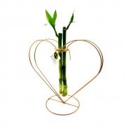 Suporte em Metal e Vaso de Vidro com Bambu da Sorte (Coração)