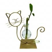 Suporte em Metal e Vaso de Vidro com Bambu da Sorte (Gato)