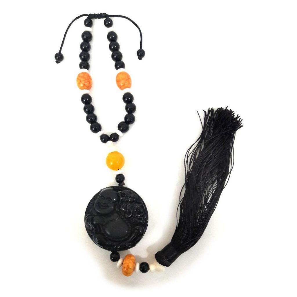Amuleto Buda da Sorte em Obsidiana Negra com Pedras