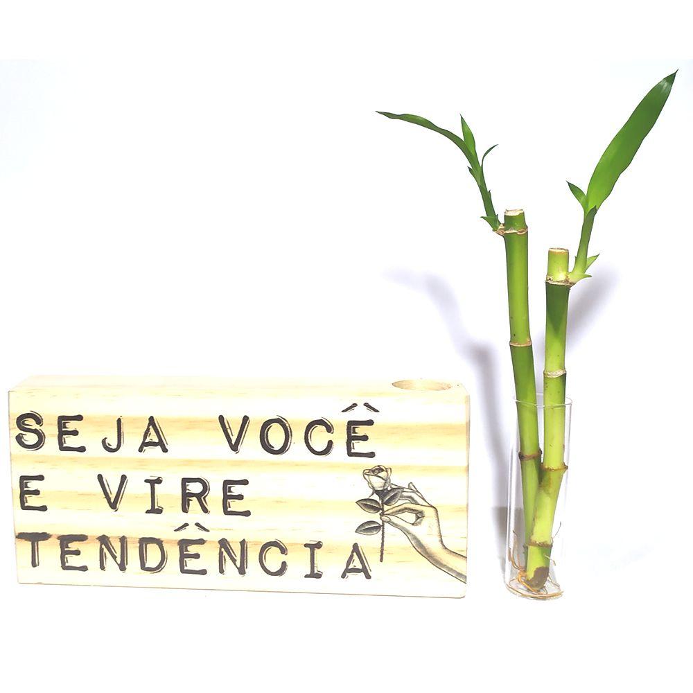 Bloco de Madeira com 2 Hastes de Bambu da Sorte (Tendência)