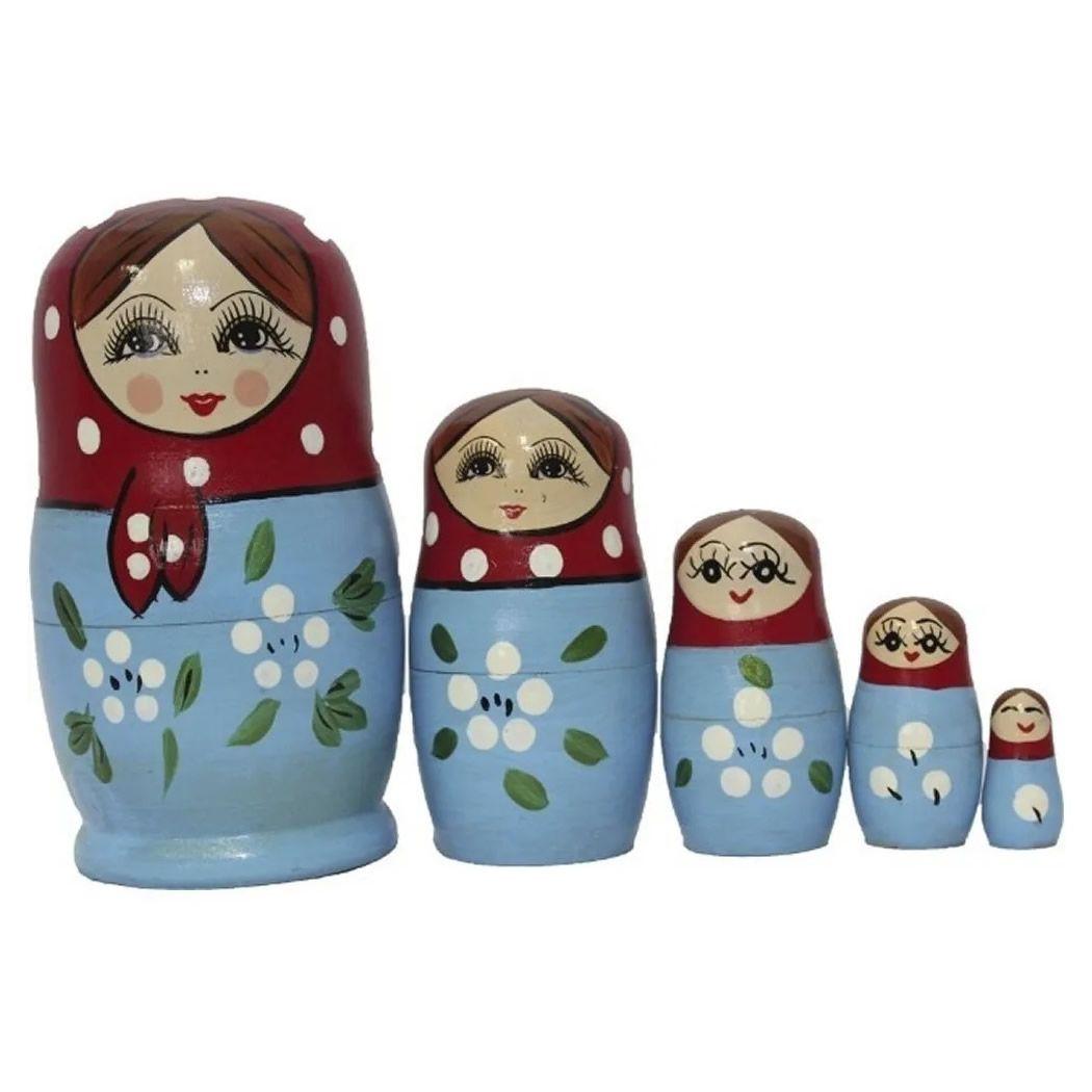 Boneca Matrioska com 5 peças (Azul e Vermelha)