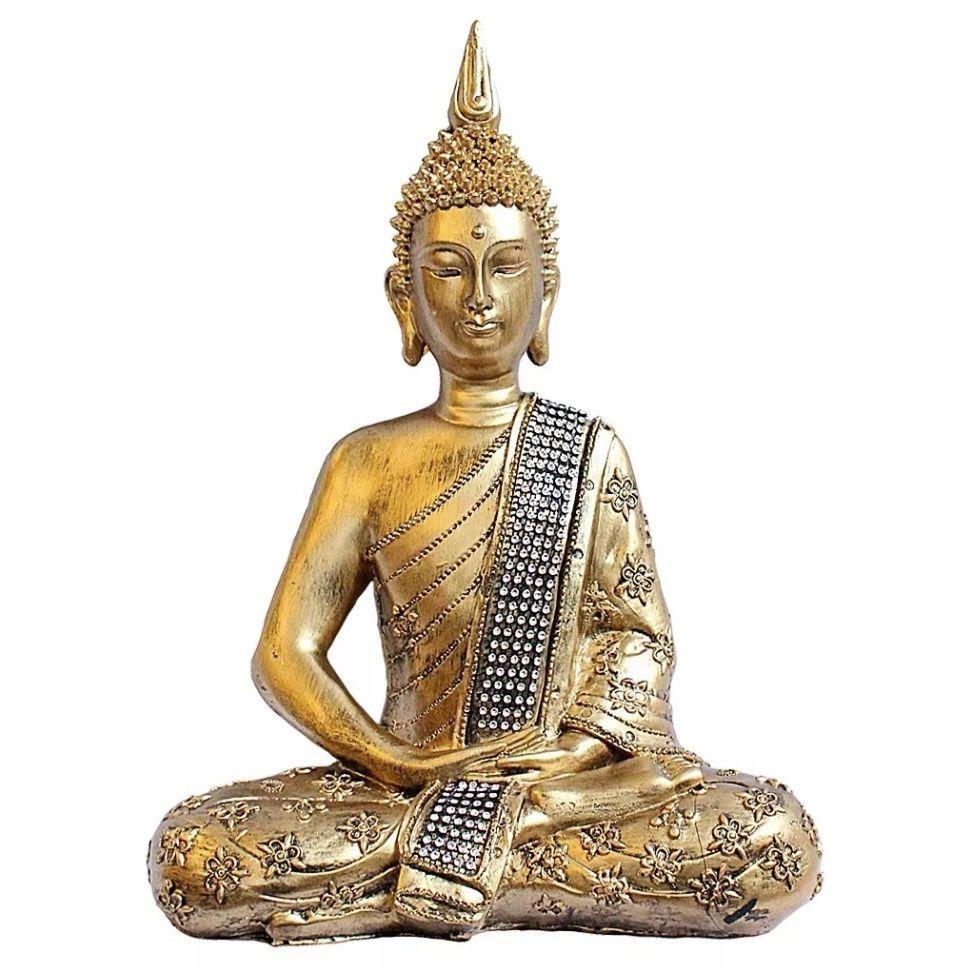 Buda Nirvana Meditando Grande com Strass em Resina (38 cm)
