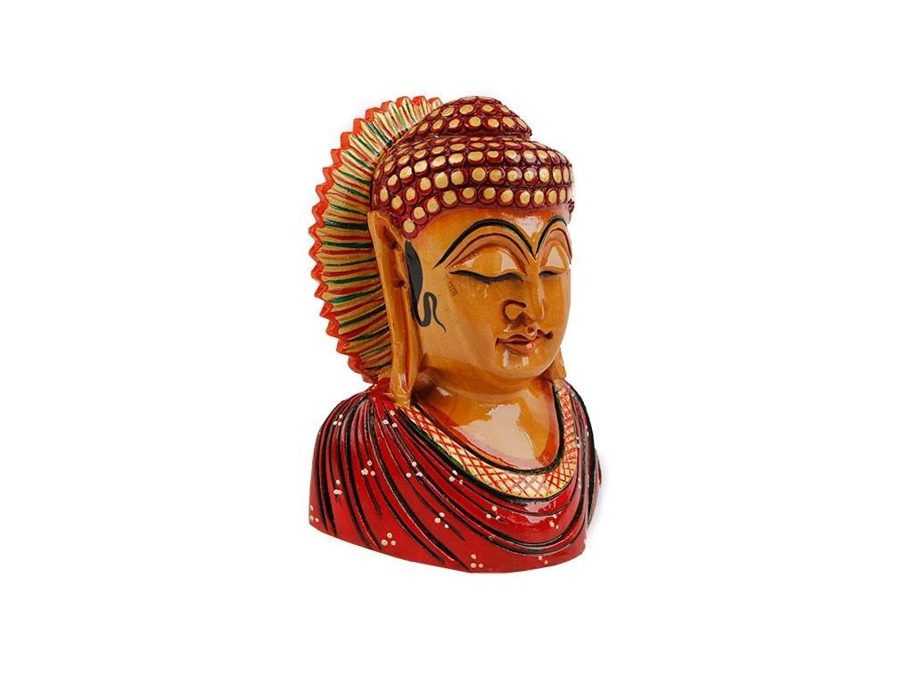 Busto Buda Celestial Colorido em Madeira (13cm)