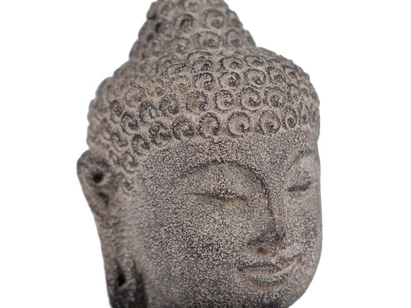Cabeça de Buda em Pedra no Pedestal (20cm)