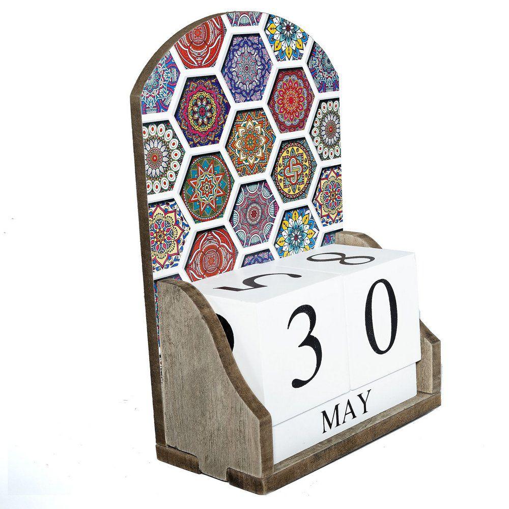 Calendário Permanente Mandala em Madeira