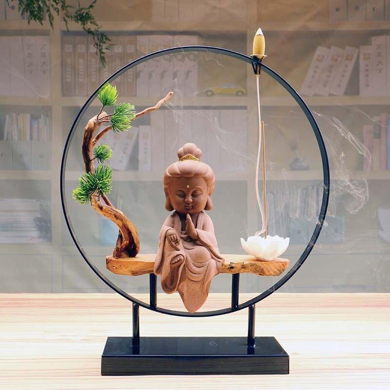 Cascasta de Fumaça Portal com Kuan Yin e Flor de Lótus