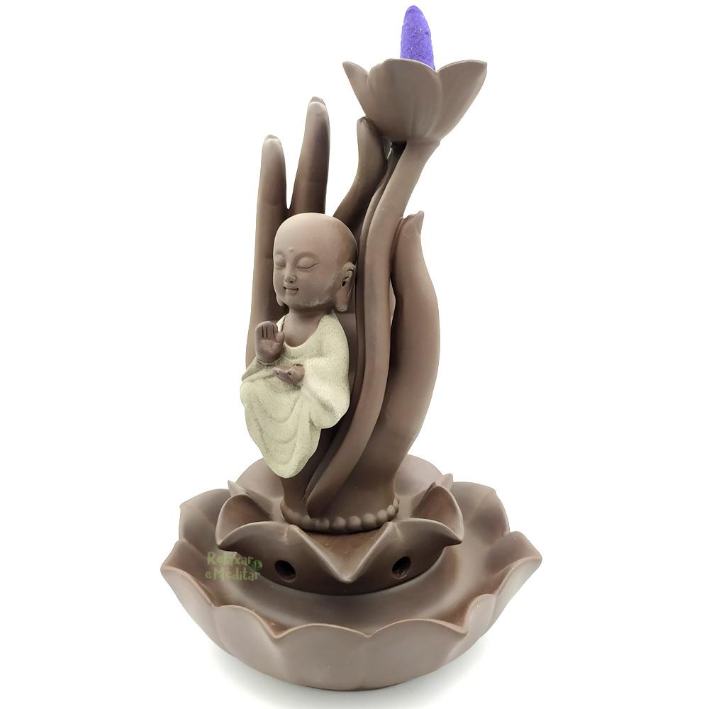Cascata de Fumaça Mão de Buda com Flor de Lótus e Monge (23cm)