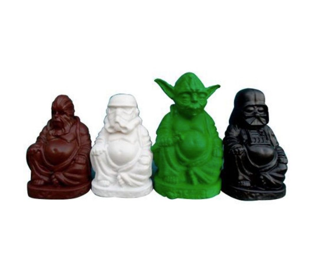 Conjunto Budas Star Wars em Resina com 4 Personagens
