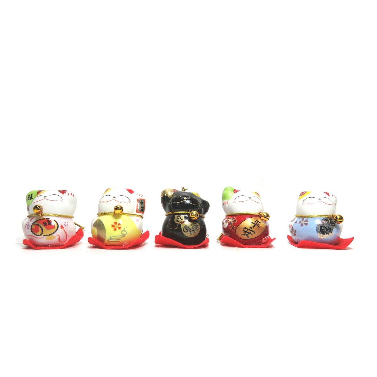 Conjunto com 5 Gatinhos Manekineko em Porcelana