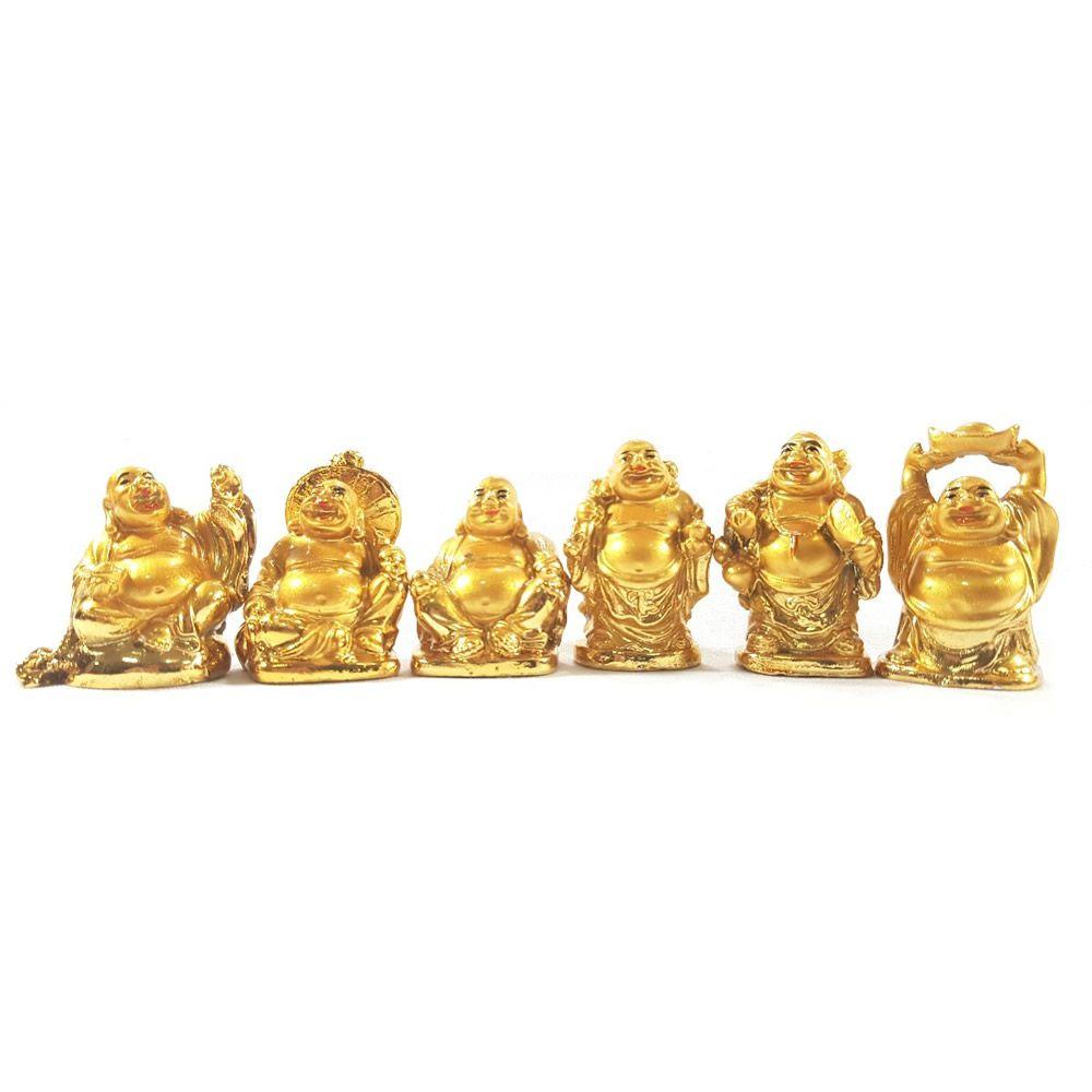 Conjunto com 6 Budas Dourados em Resina (6cm)