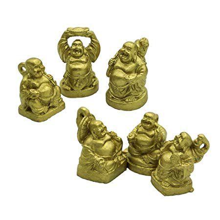 Conjunto com 6 Mini Budas Dourados (3cm)