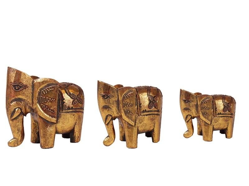 Elefante Indiano em Madeira Dourado (Médio)