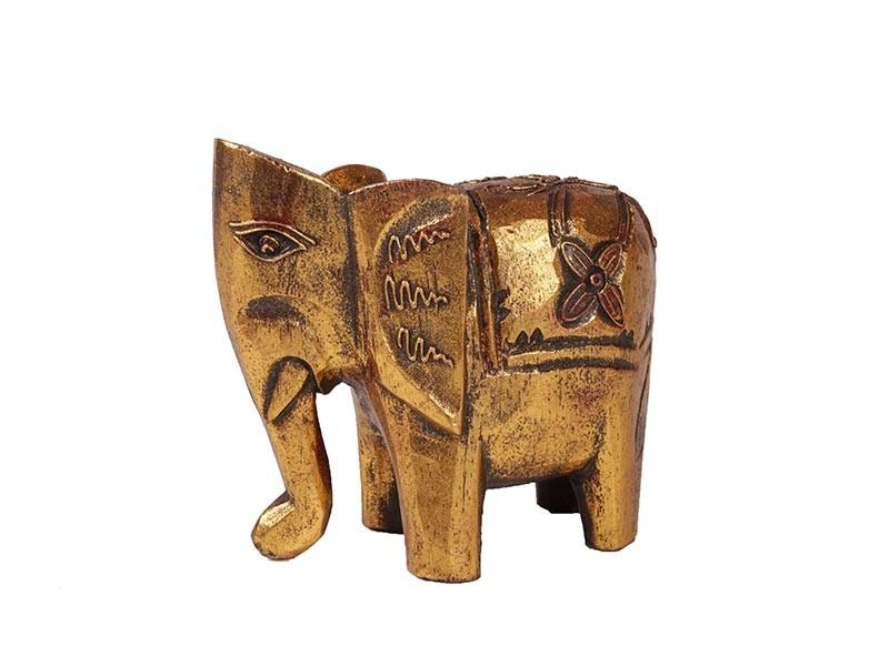 Elefante Indiano em Madeira Dourado (Pequeno)