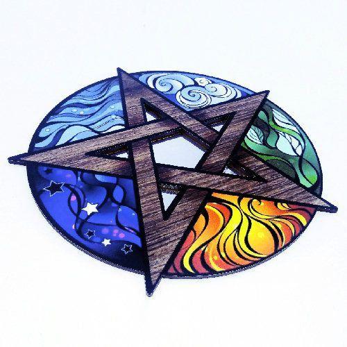 Espelho Pentagrama em MDF com 5 Elementos
