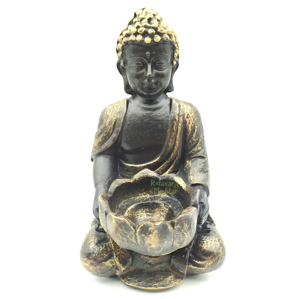 Estátua Buda com Porta Velas e Incensário (14cm)