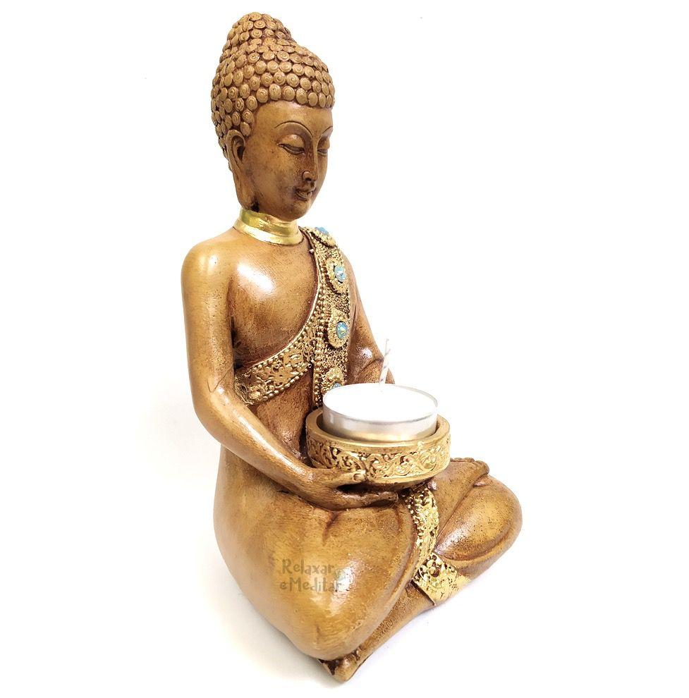 Estátua Buda com Porta Velas Rechaud (18cm)