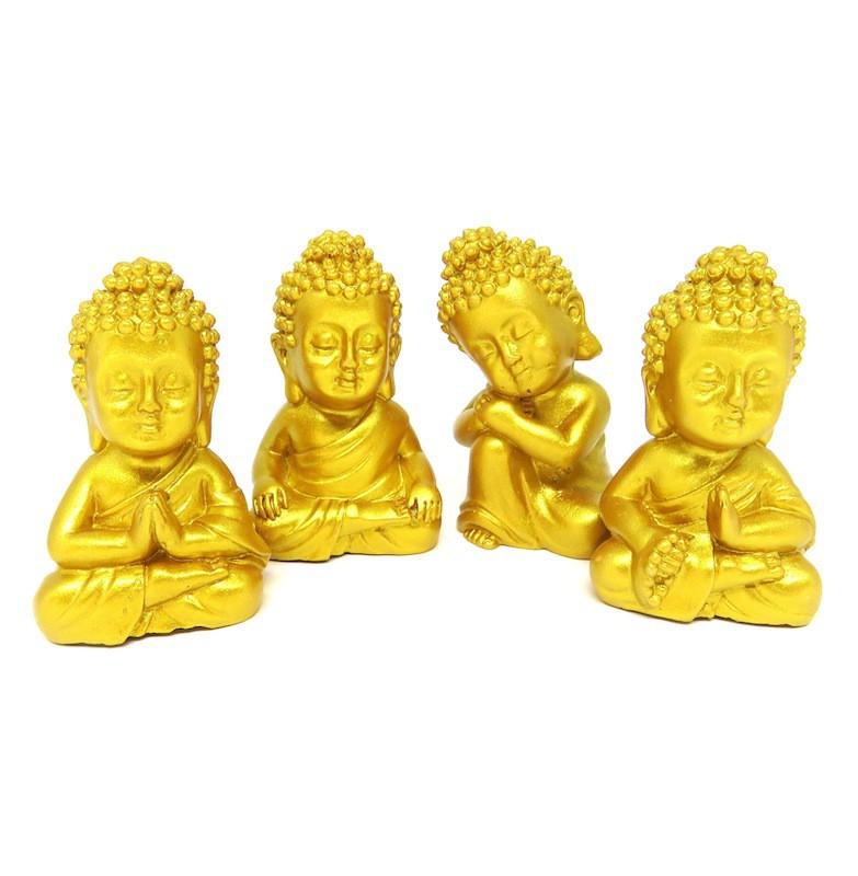 Estátua Buda Dourado com 4 Unidades (5cm)