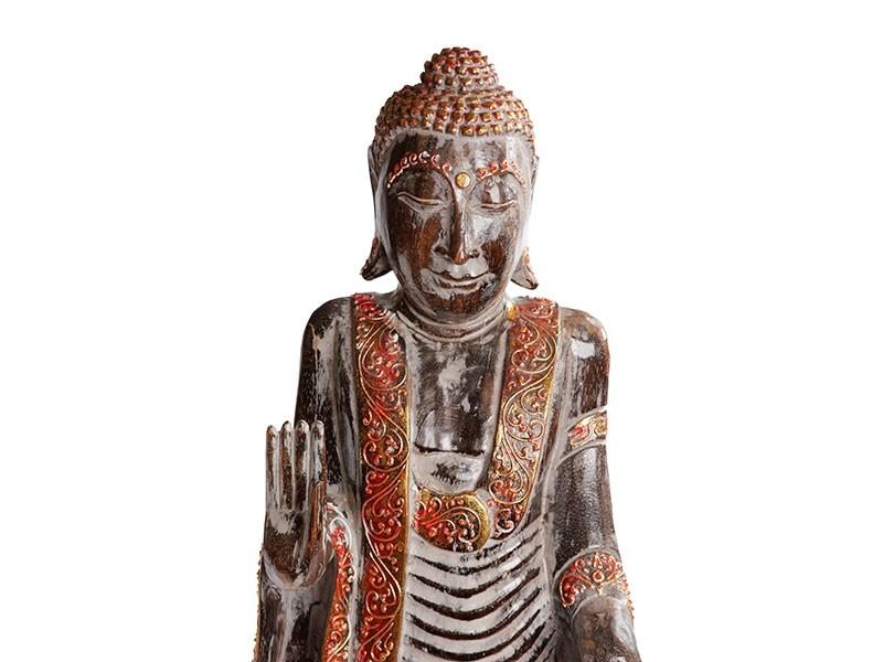 Estátua Buda em Pé com Manto em Madeira (80cm)