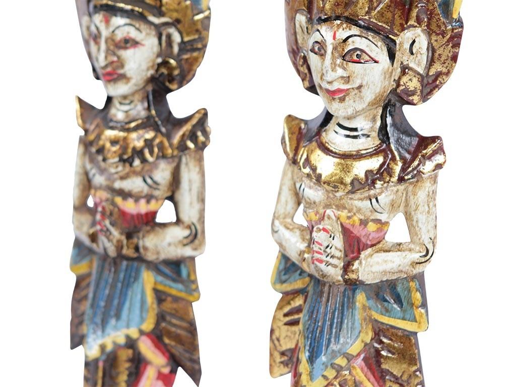 Estátua de Parede Casal Rama e Sita em Madeira (40cm)