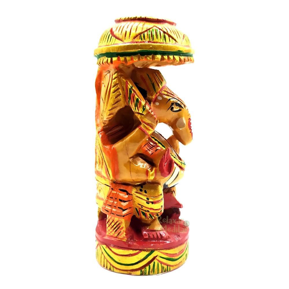 Estátua Ganesha Colorido em Madeira (13cm)