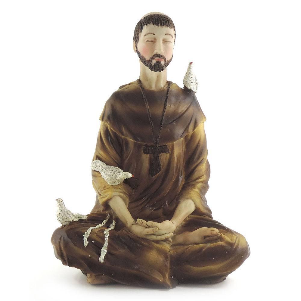 Estátua São Francisco Assis Meditando em Posição de Lótus