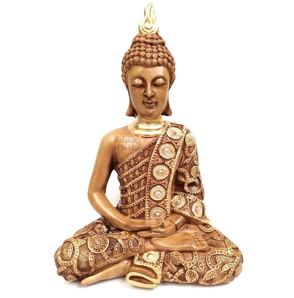 Estatueta Buda Nirvana Meditando com Strass (23 cm)